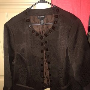 Brown  Open Jacket w Large Brown Rhinestone Accent